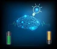 Electric battery energy  charge brain, dark blue light abstract. Technology background Stock Photos