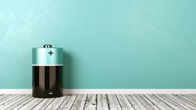 Free Electric Battery On Wooden Floor Against Wall Royalty Free Stock Image - 105152806