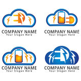 Electric Battery and Plug Cloud Modern Concept Logo Royalty Free Stock Photo