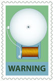 Electric bell on stamp. Illustration of the electric bell on stamp Stock Photos