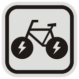 E bike, black silhouette at gray and black frame, vector icon stock images