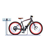 Electric bicycle charging batteries with outlet. Modern electric bicycle charging its batteries with wall outlet plug wire. EV bike station. Flat style vector royalty free illustration