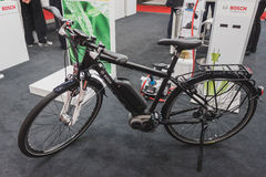 Electric bicycle on display at Solarexpo 2014 in Milan, Italy Stock Image