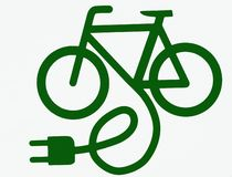 Electric bicycle, or e bike, symbol. stock illustration