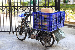 Electric bicycle of express delivery. In amoy city, china royalty free stock image