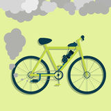 Electric bicycle fuming vector illustration