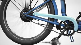 Electric bicycle wheel rotating, innovation exhibition, eco friendly transport stock video