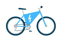 Electric bike and bicycle with motor. Electric bicycle with motor. Modern bike uses electricicty power. Technological device - motorized cycle. Vector vector illustration