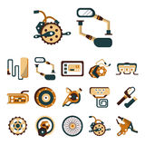 Electric bike details flat color icons. Set of flat color design icons of parts and accessories for electric bike. Wheel, motor, sprocket, control panel, charger Stock Illustration