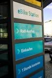 Electric bike rental station in Burghausen Germany. Sign at e-bike rental station in Burghausen,Germany Stock Images