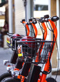 Electric Bicycles for Rent Royalty Free Stock Photo