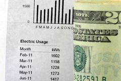 Electric Bill Statement. Twenty Dollar Bills and an electric account bill statement Royalty Free Stock Photo
