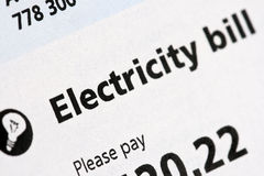 Electric Bill Statement. Electricity bill statement close-up Royalty Free Stock Photography
