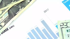 Electric bill statement - Energy expense and finance concept stock video footage