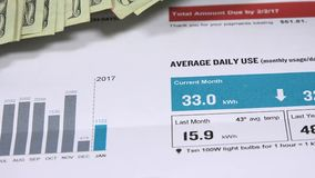 Electric bill statement - Energy expense and finance concept. Energy bill and American currency – Budget and financial costs stock video