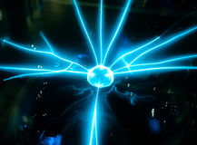 Electric blue beam spread from the middle ball Science dignitaries Royalty Free Stock Image