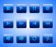 Electric Blue Entertainment Buttons Stock Photos