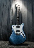 Electric blue guitar. Close up of an electric blue guitar Royalty Free Stock Image
