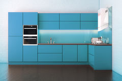 Electric Blue Hi-Tech Luxury Kitchen Cabinet Stock Photography