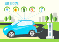 Electric Blue Hybrid Car Charging Illustration on the Road and City Landscape. Icons with plug, money, eco, oil and wrench. Vector Stock Photography