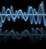 Electric blue waves - with reflection stock photo