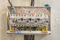 Electric board in apartment, in which differential automata and circuit breakers are installed. Electric board in the apartment, in which differential automata stock photo