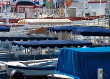 Electric boat canopies Royalty Free Stock Images