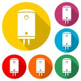 Electric boiler icon, color icon with long shadow. Simple vector icons set Royalty Free Stock Images