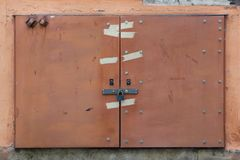 Electric box locked with a padlock Stock Image