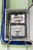 Electric box with wires and mcb & x28;micro circuit braker& x29; in the industrial ventilation room Stock Photos