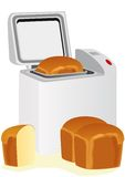Electric bread maker and bread Royalty Free Stock Photo