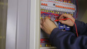 Switching electric breaker box stock footage video of circuit