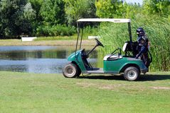 Electric buggy for golf Stock Photos