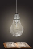 Electric bulb with book Royalty Free Stock Photos