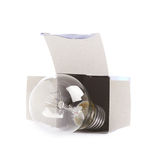 Electric bulb in a cardboard box Stock Image