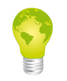 Electric bulb and earth. Green electric bulb earth over whjte background. vector Stock Image