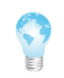 Electric bulb and earth. Blue electric bulb earth over white background. vector Stock Photos