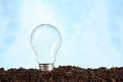 Electric bulb on earth without filament Stock Photos