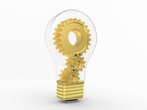 Electric bulb and gears inside Stock Photos