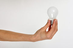 Electric bulb in hand Stock Photography