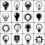 Electric Bulb Icons Set Stock Photography