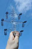 Electric bulb with power line Stock Image