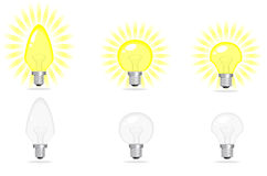 Electric bulbs. White yellow vector illustration Royalty Free Stock Image