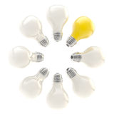 Electric bulbs arranged in a circle Stock Images