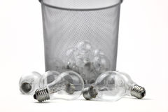 Electric Bulbs In Dustbin Royalty Free Stock Image