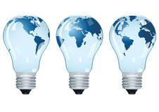 Electric bulbs with maps. Royalty Free Stock Image