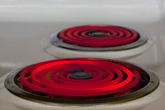 Electric burner. Hot red glowing electric burner - energy waste concept royalty free stock photo