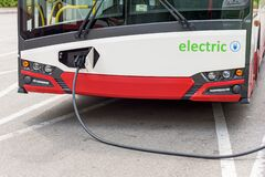 Free Electric Bus At The Charging Station Stock Photography - 191840382