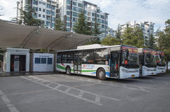 Electric bus charging station Royalty Free Stock Images