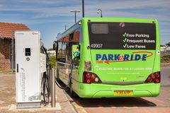 Electric Bus Recharging York UK. 31 May 2017: York, North Yorkshire, England, UK - Electric bus being re-charged at York Park and Ride Stock Image